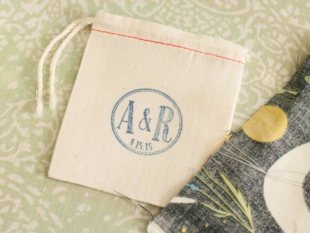 Custom muslin bags made from stamped cotton.