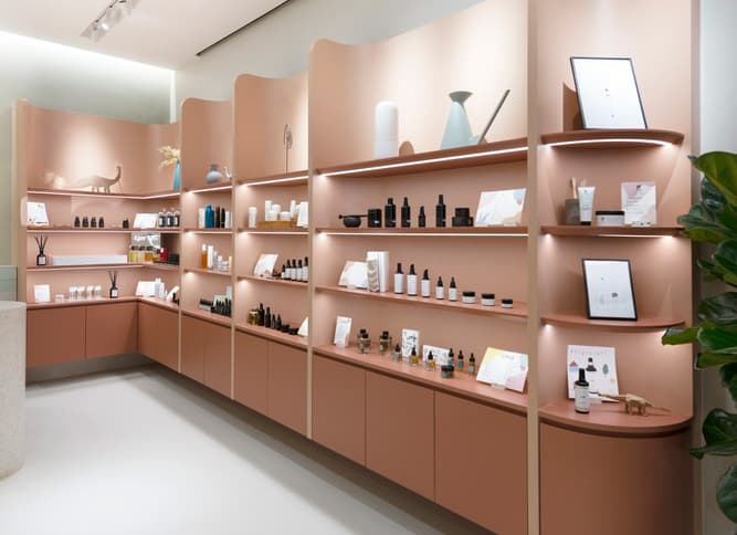 Example of products on retail store shelves
