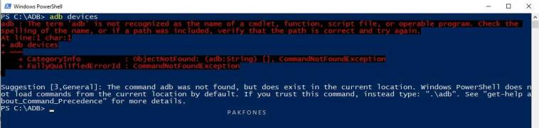 adb command error on windows 10