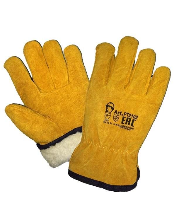 Перчатки из высококачественного спилка «ДРАЙВЕР» с искусственным мехом, теплые.