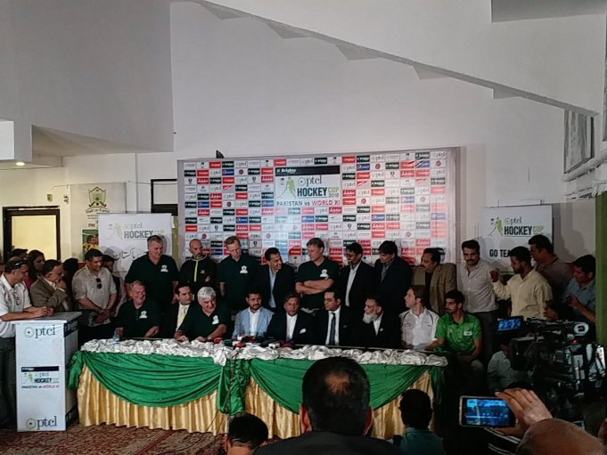 More than after a decade one of the biggest extravaganza of Pakistan's national game of hockey organized in the presence of some old and present hockey stars including the former and present foreign players when the PTCL Hockey Cup trophy unveiled by the captains of World Hockey X1 and Pakistan Junior hockey team at Hockey Stadium on Thursday. The participants of the ceremony addressing the press conference expressed their jubilation and hope that the two exhibition matches will prove beneficiary in the interest of Pakistan hockey and bring back the international hockey here once again and boost Pakistan's performance in the world hockey. The PHF president Brig (rtd) Khalid Khokar termed the occasion a historic event as far as revival of international hockey is concerned in the country. He said that the PHF was working for this big event, more than one year ago when FIH former high officials visited in the country. And now the dream has come true. He said that FIH itself felt that Pakistan is the necessity of world hockey, and without Pakistan's hockey some thing missing to the world hockey. Today we have a great achievement in this beautiful game former and present renowned players of f world of hockey across the world are present in Pakistan and a good and positive message gave to other hockey playing countries. He thanked FIH provide all possible help to Pakistan in the revival of international hockey in the country. Khalid Khokar welcomed all the former legends and hall of fame players and members of the World X1 hockey team. The PHF president said that it is just beginning and door opens for the revival of international hockey events in the country. He added that no doubt that Pakistan has great, great hockey legends who won Olympics, World Cups and several other medals but it was not possible that at a single occasion we accommodate all others. Khokar, assured that hall of fame awards would be continued and another occasion, the other heroes inclduing the 1950