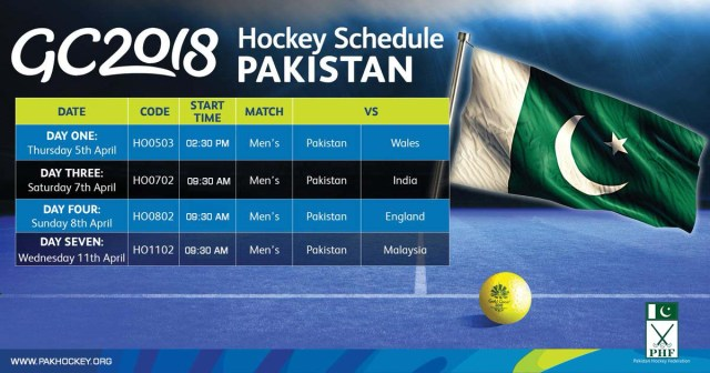 commonwealth games hockey Pakistan schedule