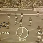 A TV grab of Indian players celebrating their first Hockey World Cup win in 1975.
