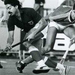 Hassan Sardar dribbling past a Russian player during the 1986 World Cup in England.
