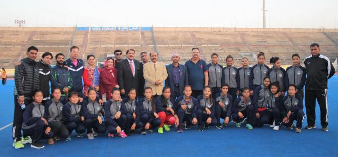 Nepalese Women Team group photo with Lt Col Asif Khokhar (Secy Punjab Hockey Association)
