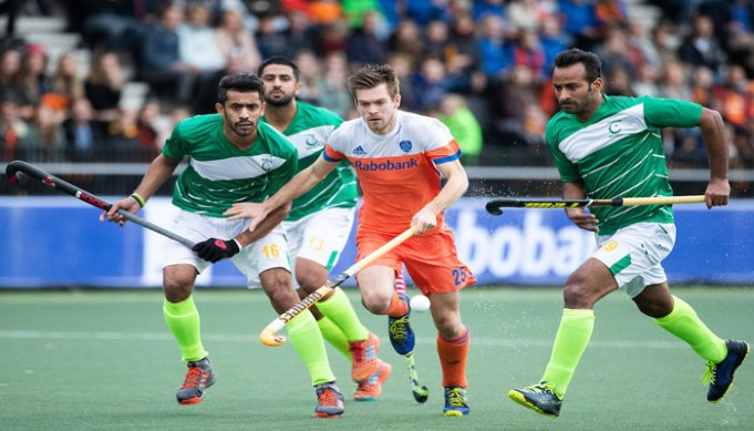 Former world Hockey champions but currently world number 17 Pakistan displayed best of their Hockey skills on Saturday to hold World number 3 Netherlands for a four-all draw in first of two-match Olympic Hockey Qualifiers. Pakistan got the opportunity to take the early lead when they were awarded a penalty corner on the 5th minute of the first quarter of the match in Amstelveen. And, the Green Shirts got the lead as a fizzing low penalty corner effort from Mubashar Ali rattles the Dutch back-board, giving the visitors the early advantage. Immediately after Pakistan's lead, the Dutch made counter-attack but Pakistan showed strong defensive discipline to fail the initial efforts by the hosts to score an equalizer, including to penalty corner efforts to keep the lead intact at the end of the first quarter. Pakistan kept the ball possession in the first five minutes of the second quarter but a penalty stroke from Mink van der Weerden leveled the game for the Netherlands in the 20th minute as his smashed towards the right post after Pakistan goalkeeper Ali Amjad fouled Terrance Pieters. With little over a minute to the equalizer, the Netherlands took the lead thru a stunning field goal by Bjorn Kellerman. Kellerman powered into the circle from the left smash the stunning backhand effort across the face of goal to sensational finish. However, the lead couldn't last long for the hosts as Pakistan got successive penalty corners in the 25th minute with Ghazanfar Ali converting it into the goal for Green Shirts to make it 2-2 ahead of the half-time whistle. Pakistan once again got the lead in 38th minute when they were awarded a penalty corner and the green-shirts didn't let the opportunity go in vain. The low drag-flick from the top of the circle is touched home brilliantly at the left post by captain Rizwan senior. The visitors entered the field for the last quarter with 3-2 lead and kept it till 52nd minute when Robbert Kempermen scored the equalizer for the Netherlands, making it 3-3. Both the team displayed skillful hockey in final five minutes of the game, Pakistan made desperate attempts to take the lead and they got the success when a penalty corner was awarded to them two minutes before the final whistle. Pakistan scored their fourth penalty corner of the game to take a 4-3 lead before the final few moments of the contest as Mubashir Ali netted his second goal of the match thru a superb drag-flick which crashes against the backboard. As Pakistan was heading towards final whistle with 4-3 lead, the referee awarded a penalty corner to the hosts in the last few seconds of the game allowing Mink van der Weerden to score a late equalizer. With the first match being ended in 4-4 draw, both the teams will face each other once again on Sunday in the second leg of the qualifier and winner of the match will confirm the berth to Tokyo Olympics. Both the teams are presently equal at the points and goals and If the equality remains in 60 minutes of play on Sunday, a shoot-out competition will be played to establish the winner.