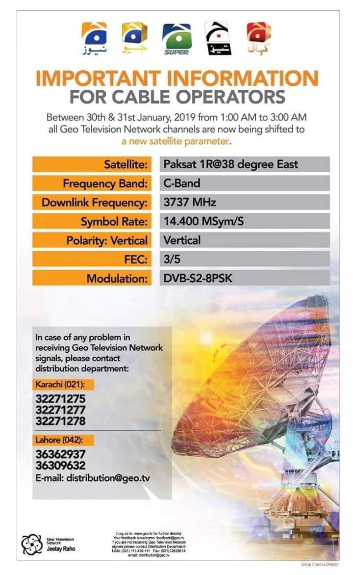 All Geo Network Channels going to be shifted to PakSAT 1R