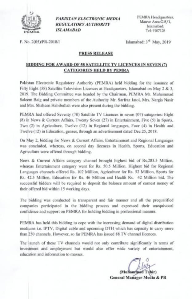 PEMRA issues 70 New Satellite TV Channel Licenses for PAKSAT