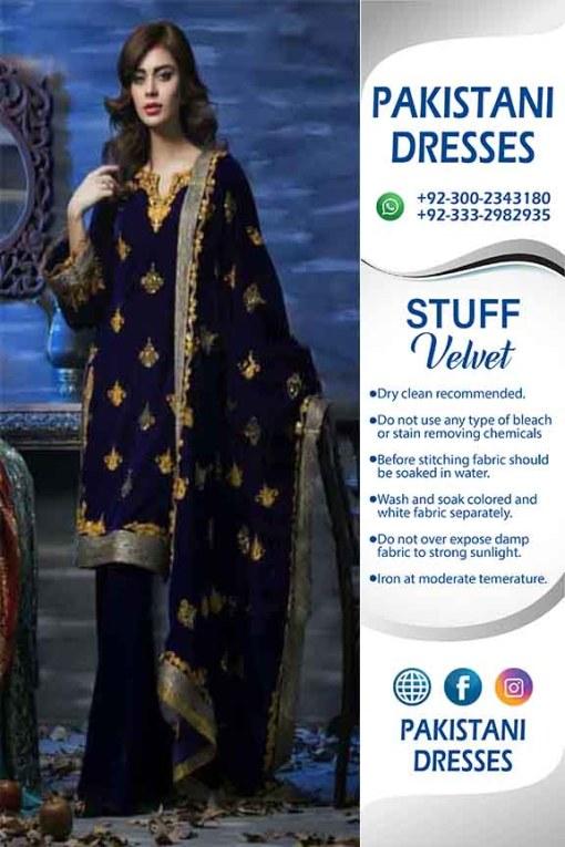 Pakistani Velvet Dresses 2019