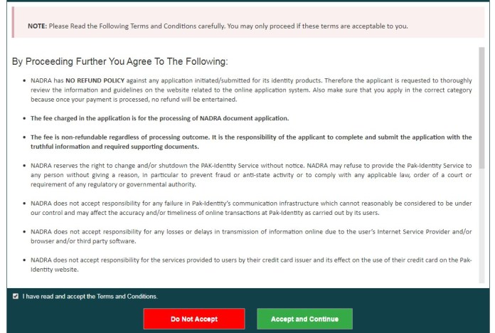 agreement nadra website registeration
