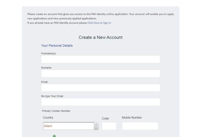 creating account on nadra website for ID application