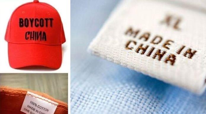 China manufacturing 'Boycott China' Caps and T-Shirts for India