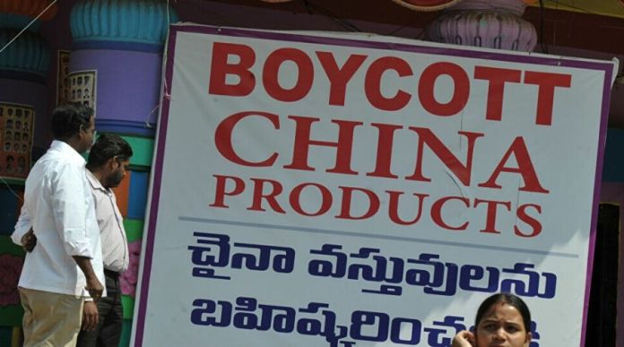 India Protests to Boycott China by Wearing Made in China