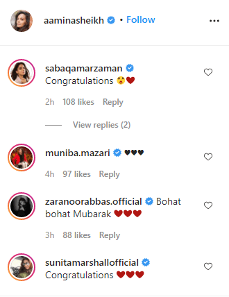Celebrities comments on amina sheikh wedding ring post