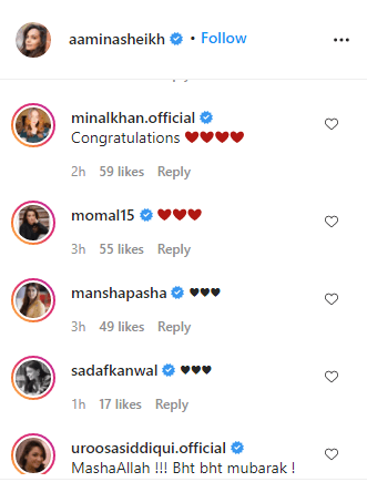 Celebrities comments on amina sheikh wedding ring post 2