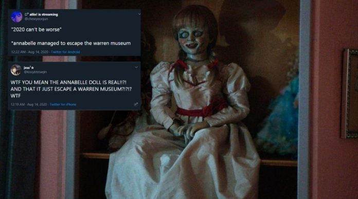Annabelle doll 'escaping' the Warren's Museum lights up Twitter with jokes
