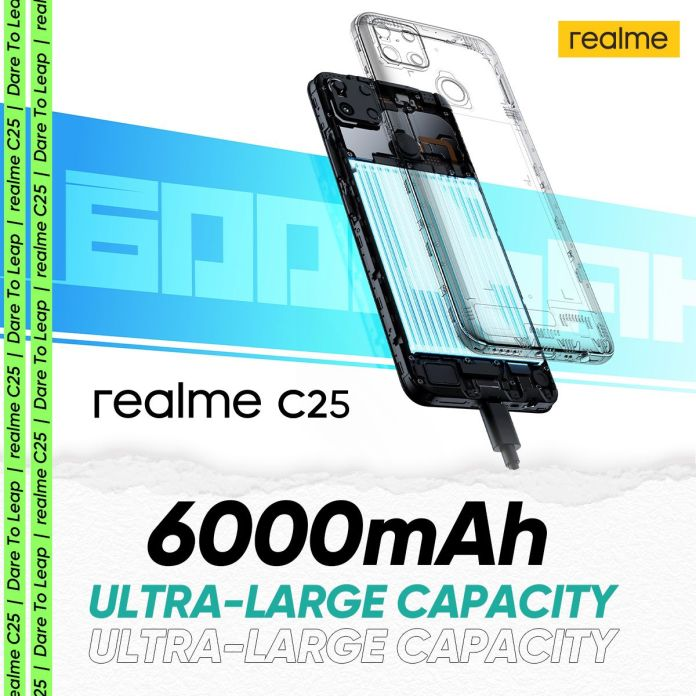 The new Realme C25 keeps you connected all day with power-packed 6,000mAh battery