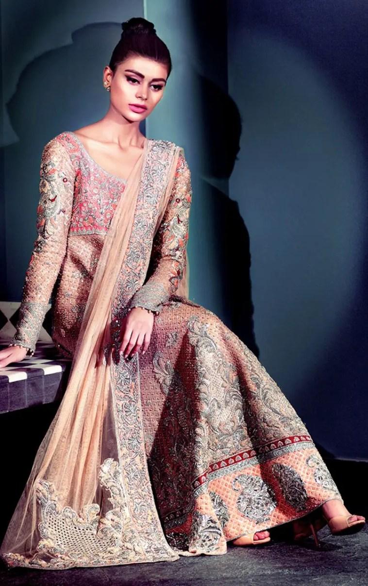 Beautiful peach long Pakisatni bridal dress by Pakistani ...