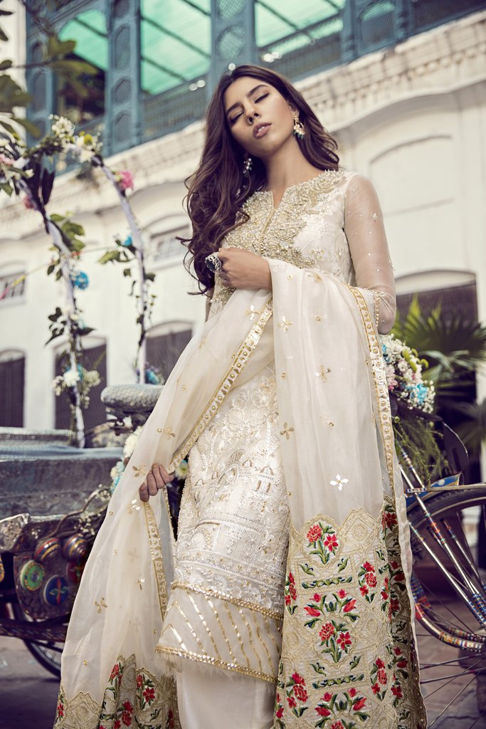 Elegant off-white 3 piece ready to wear pret Suffuse by Sana Yasir ...