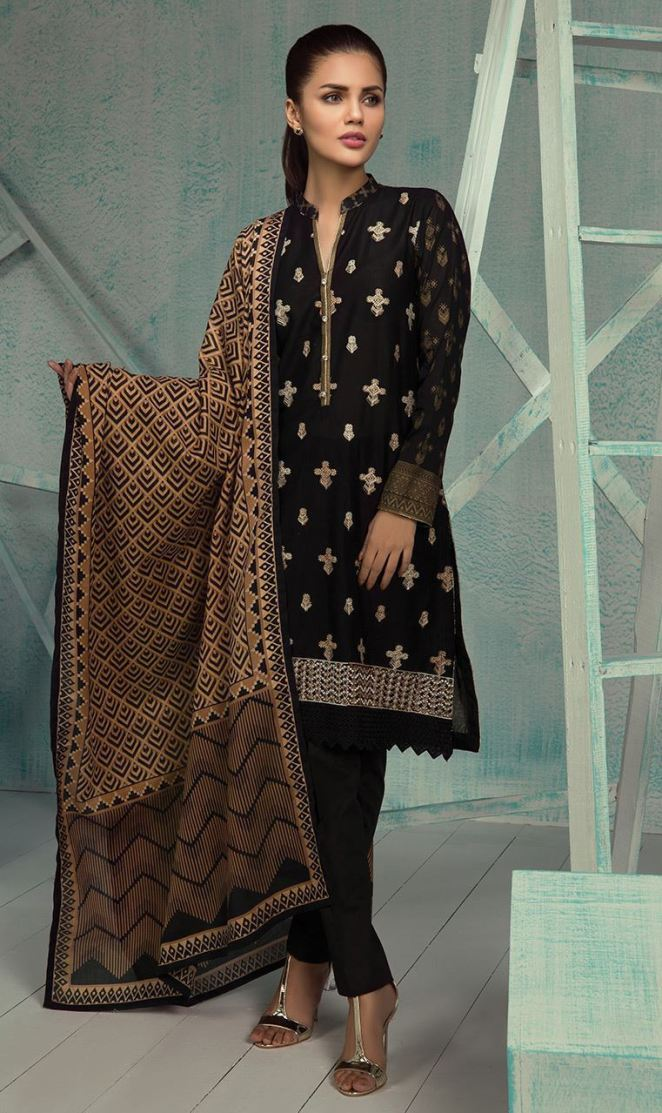 9a21563f28 Beautiful 3 piece Black ready to wear embroidered dress by Orient Textile  pret collection 2018