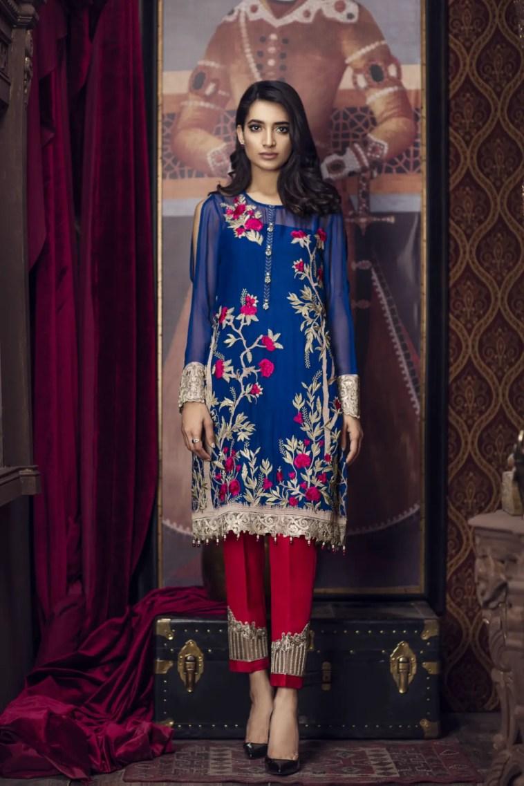 Ravish Blue Unstitched 3 Piece Pret Dress By Imrozia Premium Semi