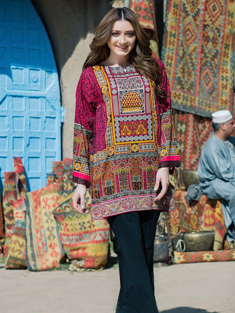 Refreshing Red Unstitched Pakistani Pret Dress By