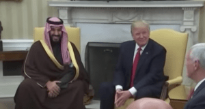President Trump's visit to Saudi Arabia comes weeks after his meeting with the Kingdom's Deputy Crown Prince Mohammed bin Salman in White House in March this year. (Photo via video stream)