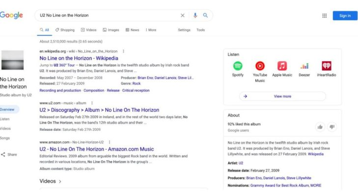 Google Search Redesigns Music Queries on Desktop