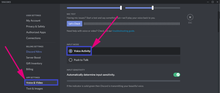 Disable Push to Talk in Discord