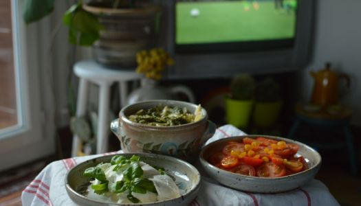 Summer harvest easy tv-dinner with tomato mozzarella and basil