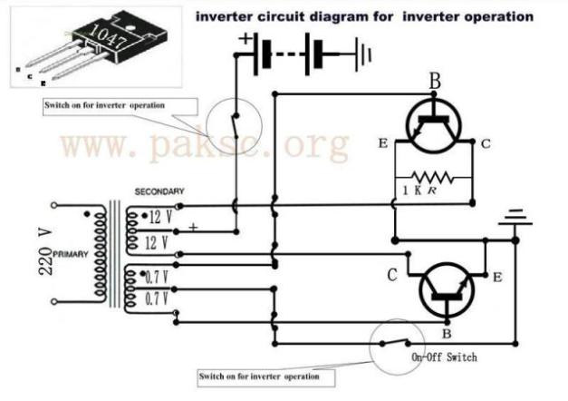 here is the inverter circuit diagram for inverter operation :