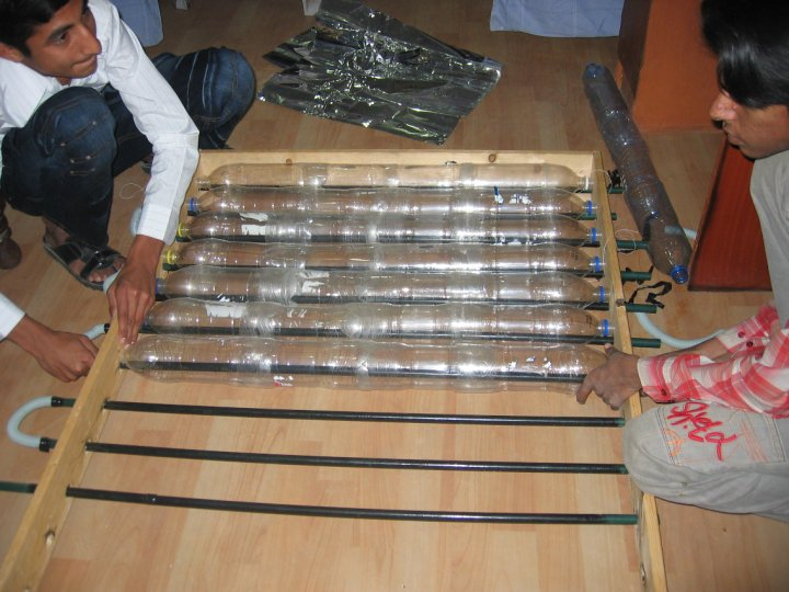 recycled plastic bottle solar water heater