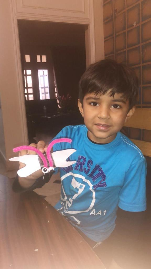The  kid is made a Solar bud during Pakistan Science Club online winter Camp