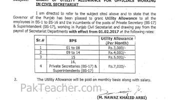 Utility Allowance for Punjab Govt Employees - Notification