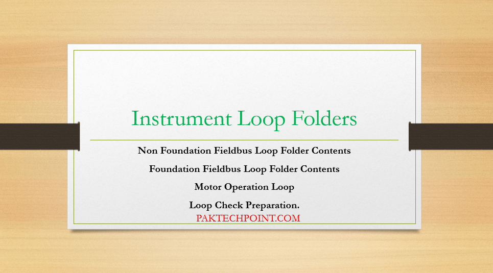 Instrument Loop Folders, Non Foundation Fieldbus Loop Folder Contents