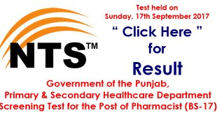 primary and secondary healthcare department nts-result-test