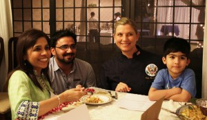 (From Right to Left) U.S Celebrity Chef Mary Sue Milliken, Manager Food and Beverages at U.S Embassy Waqas Anjum and Chef Shai about to taste a dish
