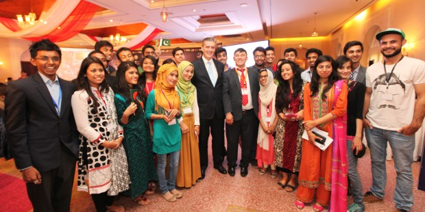 U.S. Ambassador Richard Olson with YES alumni from Pakistan, Afghanistan, Bangladesh and India.