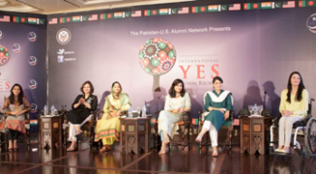 The Social Entrepreneurship Panel featuring (from left to right) Muniba Khurrum,Zeba Husain, Anusheh Navash, Humaira Bachal, Rakhshinda Parveen and Maimoona Sattar.