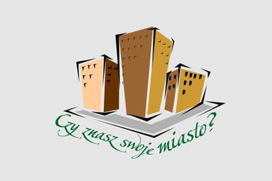 logo konkursu Czy znasz swoje miasto, grafika przedstawia trzy wysokie budynki i napis