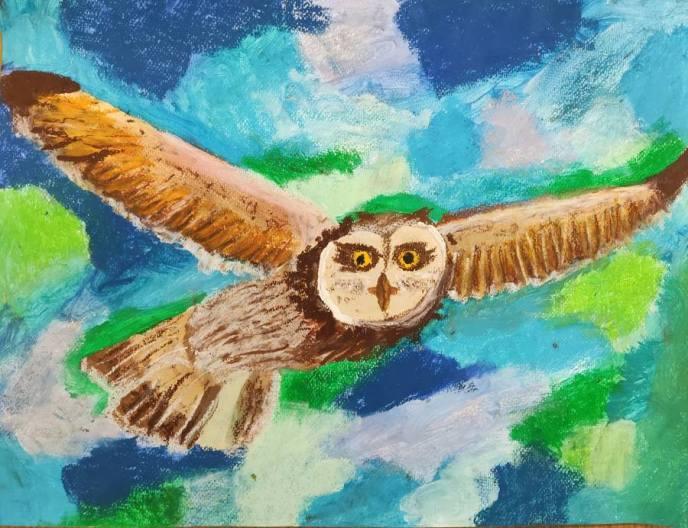 praca plastyczna przedstawiająca lecącą sowę