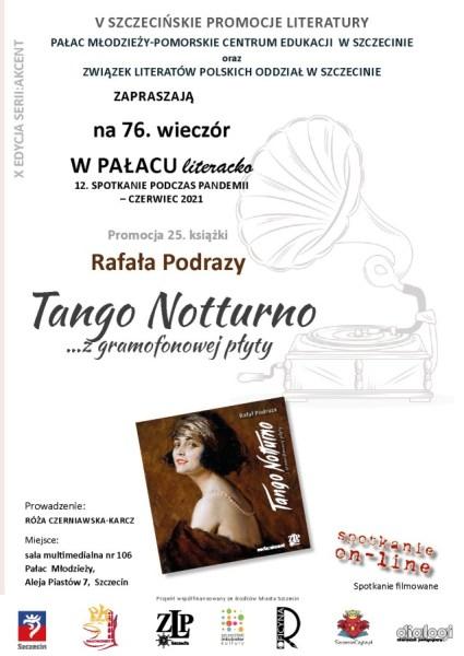 plakat zapraszający napormocję książki Rafała Podrazy