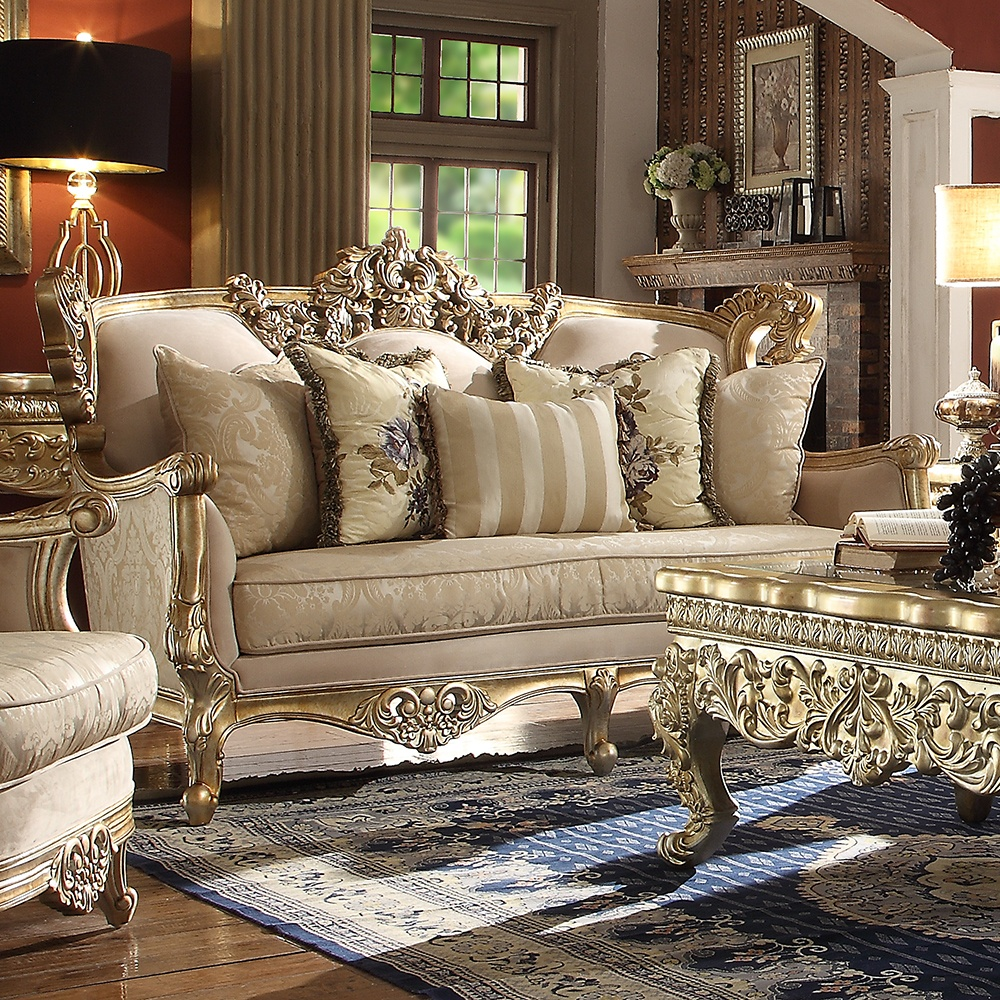 Homey Design HD-04 - 3Pc Sofa Set Metallic Bright Gold ...