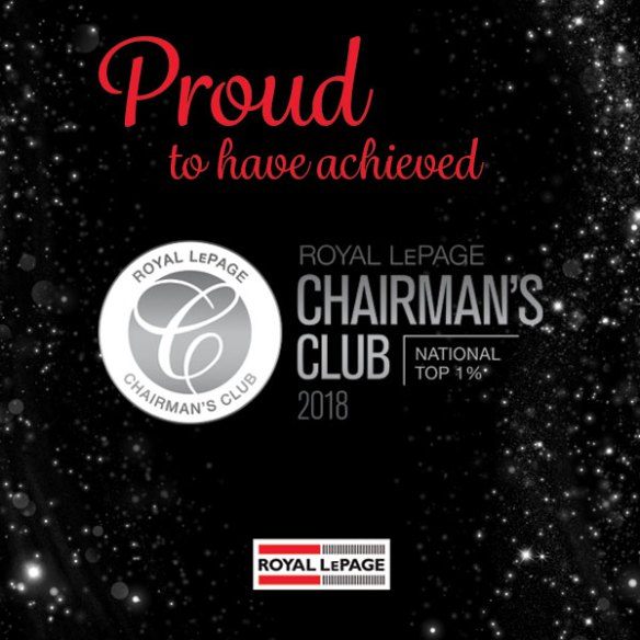 proud to achieve the royal lepage chairmain's club 2018