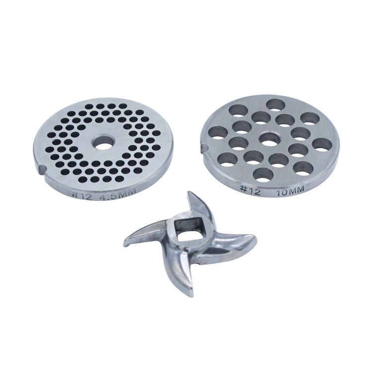 Paladin Equipment's #12 meat grinder includes two grinding plates and a blade.