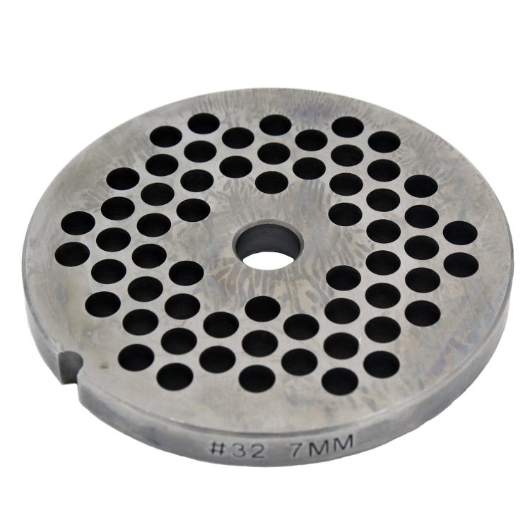 The 7mm grinder plate for Paladin Equipment's #32 meat grinders.