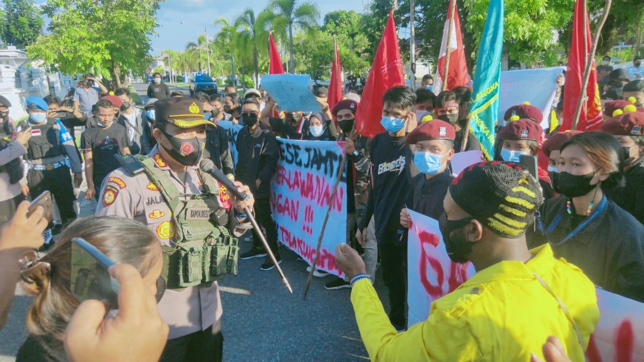 Polresta Palangka Raya Dampingi Keamanan Aksi Damai Hari Buruh Internasional