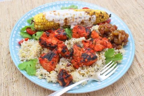 Tandoori Chicken Tikka with Masala Grilled Corn