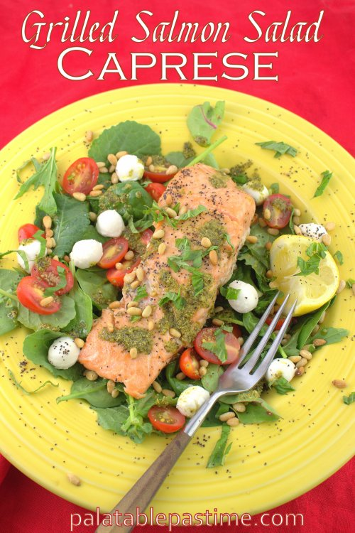 Grilled Salmon Salad Caprese