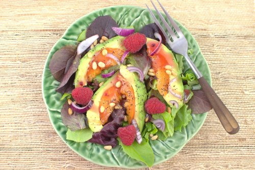 Avocot Salad with Raspberries